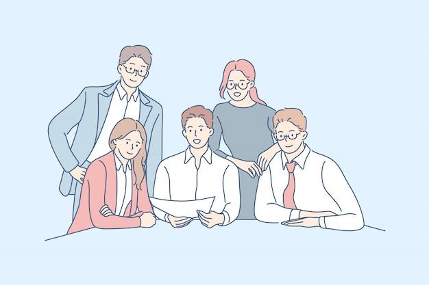 Squadra di affari, collaborazione, concetto di partnership.