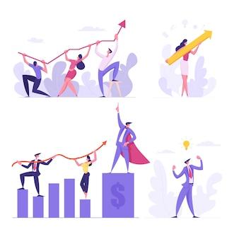 Concetto di squadra di affari. le persone di affari tengono l'illustrazione piana del grafico della freccia finanziaria