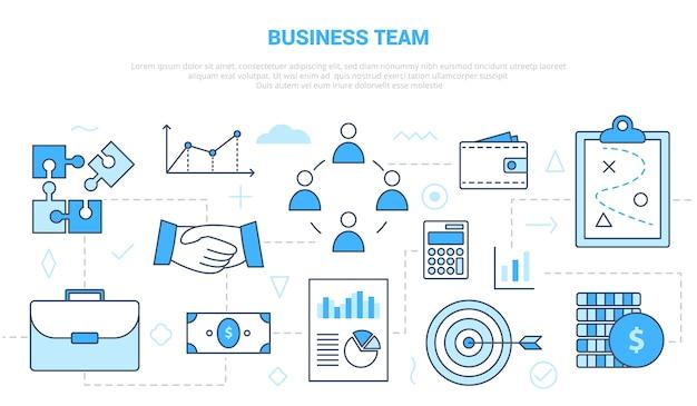 Concetto di squadra di affari con modello di set di icone con stile moderno di colore blu