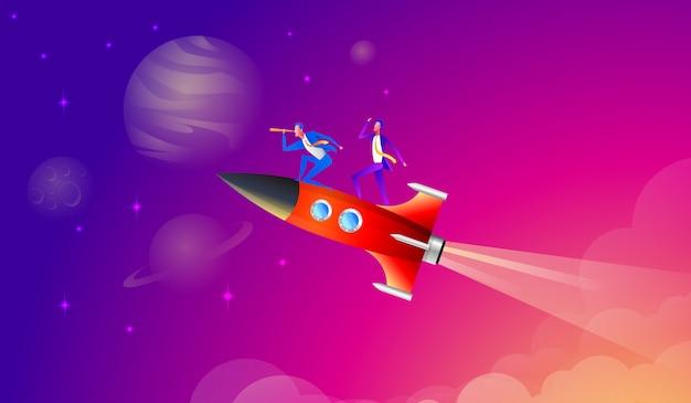 Il team di lavoro è all'altezza del successo su un razzo. illustrazione di cartone animato stile piano vettoriale