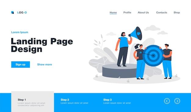 Raggiungimento degli obiettivi del team aziendale. pagina di destinazione in stile piatto