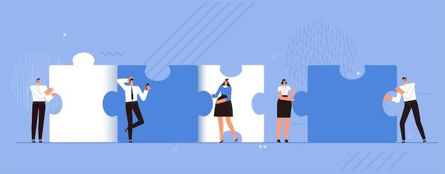 Il team aziendale crea grandi pezzi di puzzle. il concetto di lavoro di squadra di successo, cooperazione e cooperazione. le persone lavorano insieme. piatto del fumetto