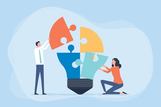 Riunione del team di lavoro per il brainstorming e il processo creativo e il concetto di business