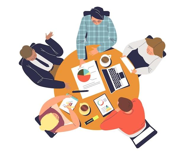 Riunione della squadra di affari alla tavola rotonda dell'illustrazione degli uomini d'affari