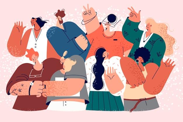 Squadra di affari, impiegati, concetto di gruppo multiculturale. gruppo di giovani operai sorridenti di affari