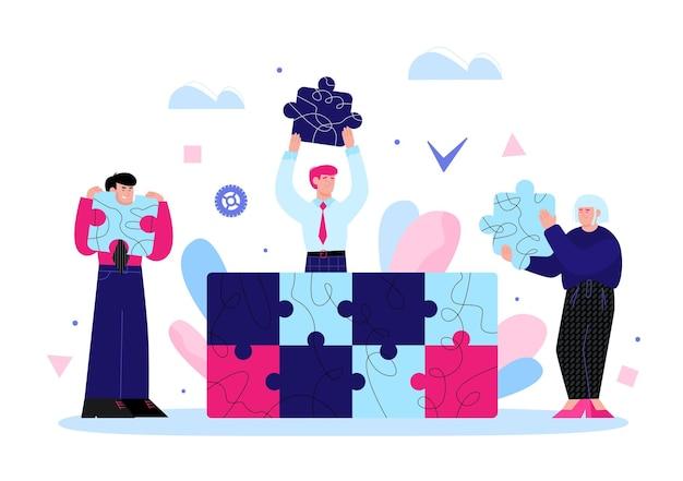 Gente del gruppo di affari che monta le parti di puzzle