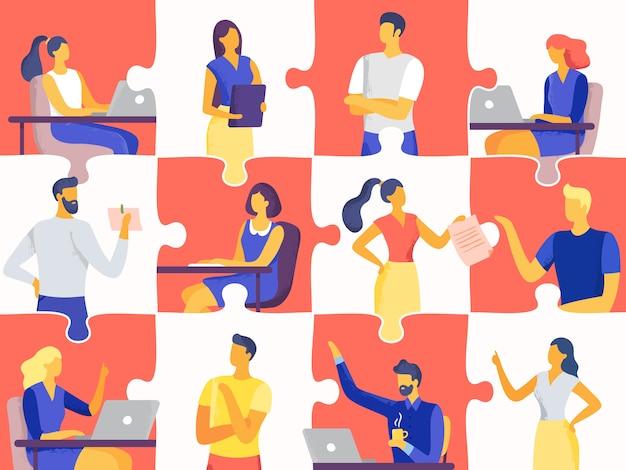 Puzzle della squadra di affari. illustrazione piana del professionista, del mosaico di lavoro di squadra e degli impiegati di concetto