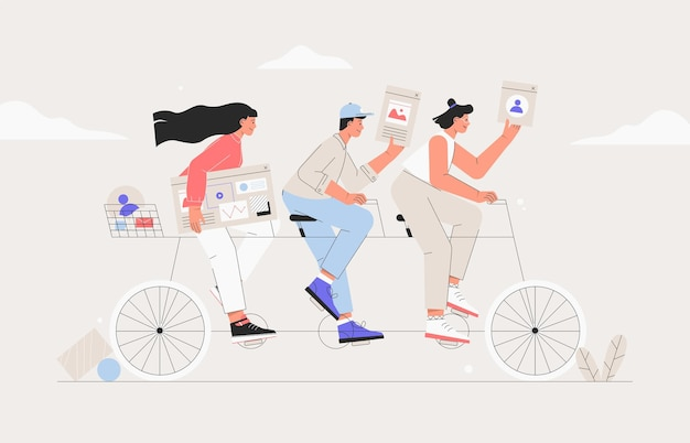 Squadra di affari in sella a una bicicletta tandem