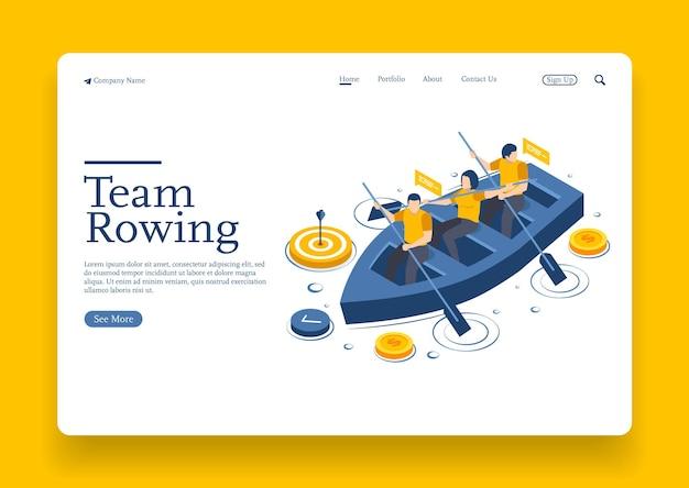 Il team aziendale che rema con la barca e guarda attraverso il cannocchiale cerca la giusta direzione