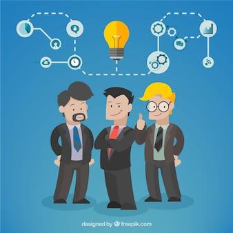 Squadra di affari con un'idea Vettore Premium
