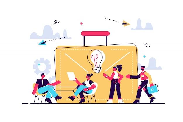 Il team aziendale lavora insieme a laptop e lampadina. collaborazione, problem solving collaborativo e concetto di partnership su sfondo bianco. illustrazione isolata tavolozza rosa corallo.