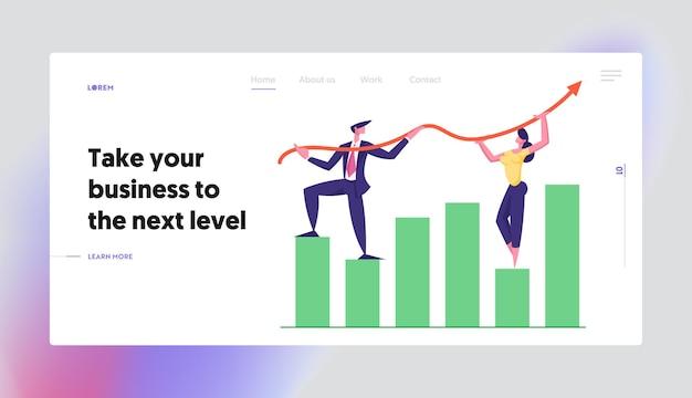 Squadra di affari che lavora sul set di pagina di destinazione del concetto di grafico a freccia di crescita