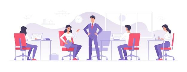Squadra di affari che lavora nell'illustrazione moderna dell'ufficio
