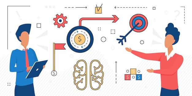 Lavoro di squadra di affari per raggiungere i caratteri di obiettivi di squadra di successo che risolvono il problema finanziario