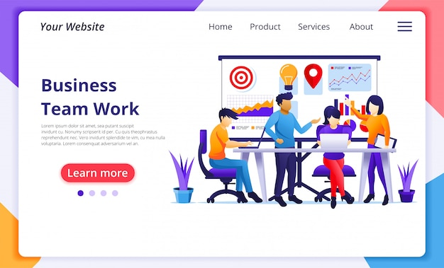 Concetto di lavoro di squadra di affari, persone che lavorano in ufficio, riunione e presentazione. modello di pagina di destinazione del sito web