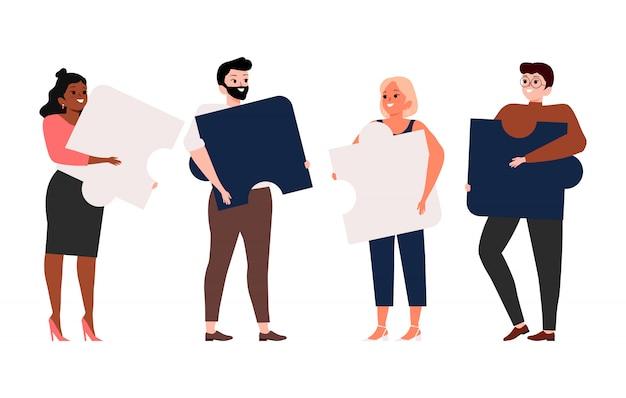 Concetto di business e lavoro di squadra. metafora del team. persone che collegano elementi puzzle. simbolo dell'illustrazione di cooperazione e associazione