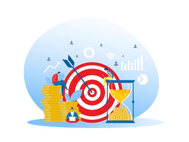 Sviluppo e promozione delle illustrazioni di lavoro di squadra di affari concetto di successo di affari, obiettivo di lavoro di squadra
