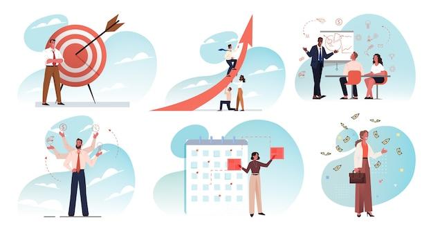 Affari, lavoro di squadra, piano, formazione, multitasking, targeting, raggiungimento degli obiettivi, concetto di set di leadership. raccolta di team di uomini d'affari donne impiegati manager alla riunione strategia di pianificazione insieme.