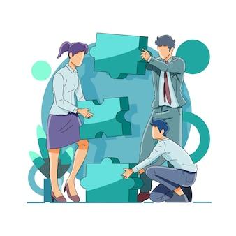 Lavoro di squadra di affari che mette insieme puzzle