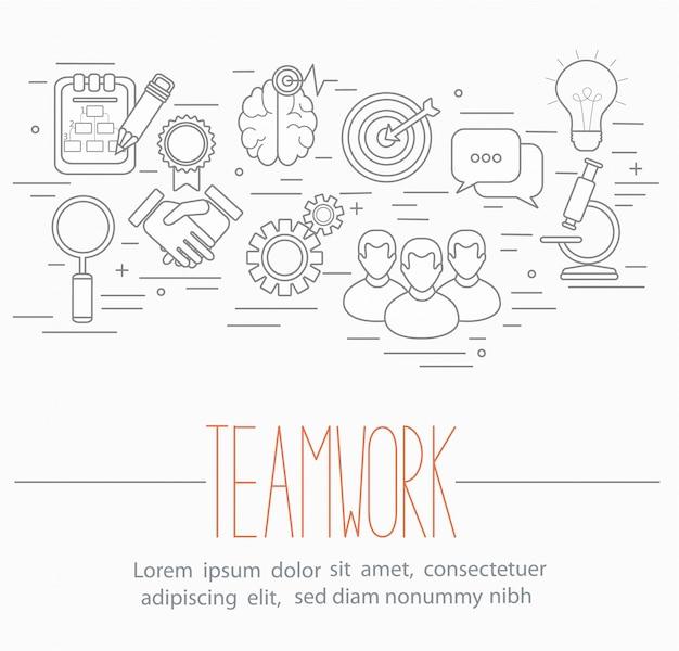 Simboli di lavoro di squadra di affari