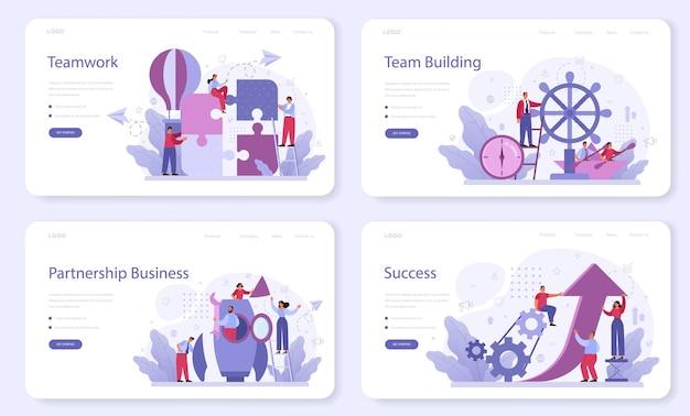 Banner web di lavoro di squadra aziendale o set di pagine di destinazione
