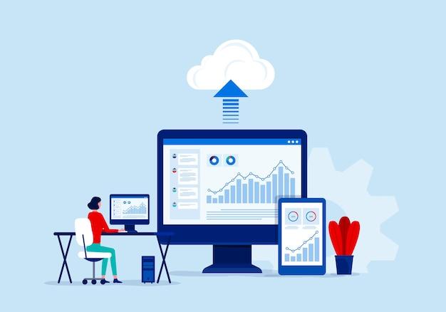 Concetto di servizio di cloud computing di tecnologia aziendale