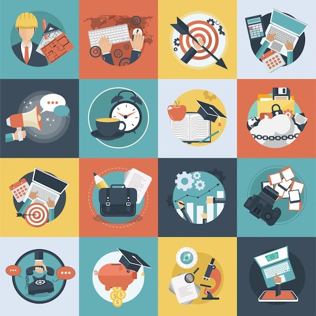 Set di icone colorate di affari e tecnologia