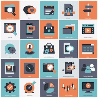 Tecnologia aziendale e illustrazione del set di gestione