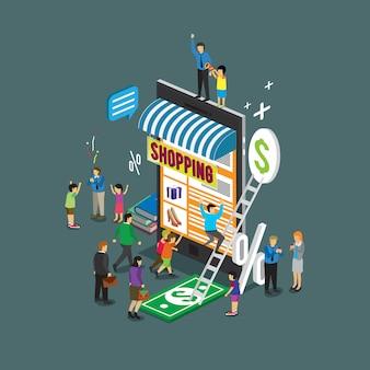 Telefono cellulare tecnologia aziendale per l'e-commerce del negozio online