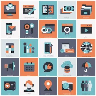 Illustrazione del set di affari e tecnologia
