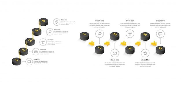 Modello di business con passaggi di cilindri, opzioni. infografica isometrica per siti web, banner, diagrammi di flusso, presentazioni. concetto nero e giallo isolato su sfondo bianco