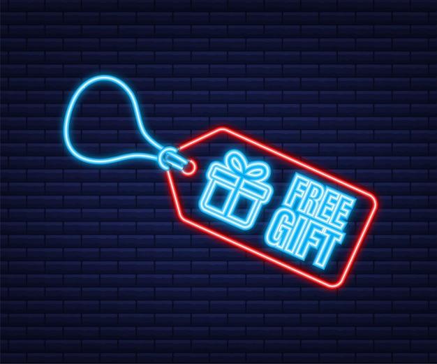 Modello di business con regalo gratuito rosso per il design di banner. icona al neon. modello di affari di vettore. icona della confezione regalo presente.