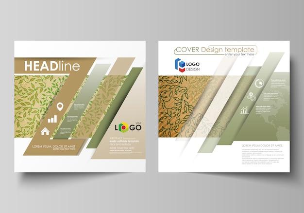 Modelli di business per brochure quadrati Vettore Premium