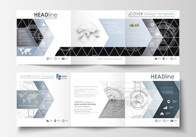 Modelli di business per brochure tri-fold quadrati