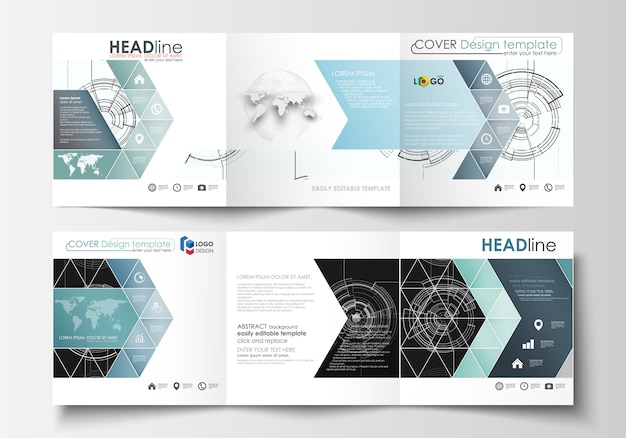 Modelli di business per brochure tri-fold quadrati.