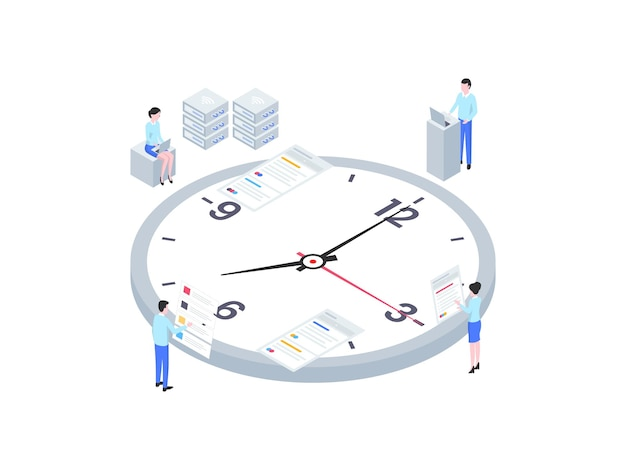 Illustrazione isometrica di gestione del tempo di affari. adatto per app mobili, siti web, banner, diagrammi, infografiche e altre risorse grafiche.