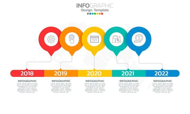 Elementi di infografica timeline aziendale con 5 opzioni o passaggi.