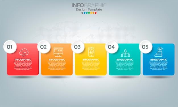 Elementi di infografica timeline aziendale con opzioni