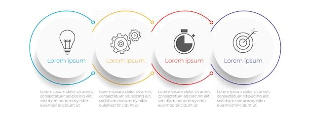 Timeline di affari infografica modello 4 opzioni o passaggio.