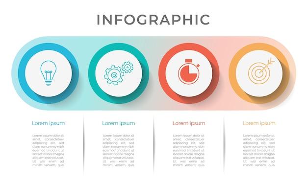 Opzioni o passaggio del modello 4 di infografica timeline aziendale.