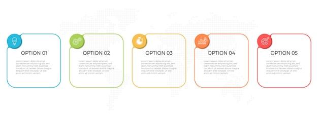 Timeline di affari infografica modello 5 opzioni o passaggio.
