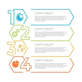 Opzioni o passaggio del modello di infografica della cronologia aziendale.