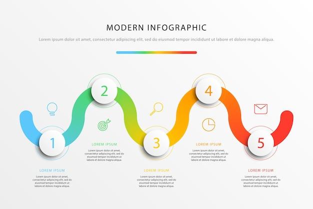 Infografica del flusso di lavoro della timeline aziendale con cinque elementi rotondi 3d realistici aziendali moderni