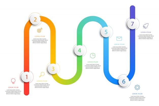 Infographics di flusso di lavoro di cronologia di affari con elementi rotondi 3d realistici.