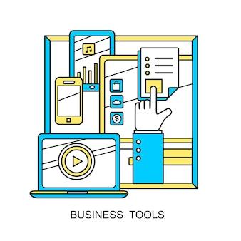 Concetto di strumenti aziendali: una mano con diversi dispositivi in stile linea