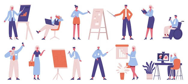 Formatori aziendali. formazione e coaching aziendale del team di office, altoparlanti, set di strategia aziendale