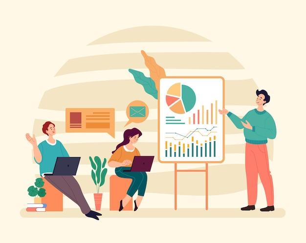 Concetto di insegnamento di coaching tutorial classe di formazione aziendale.