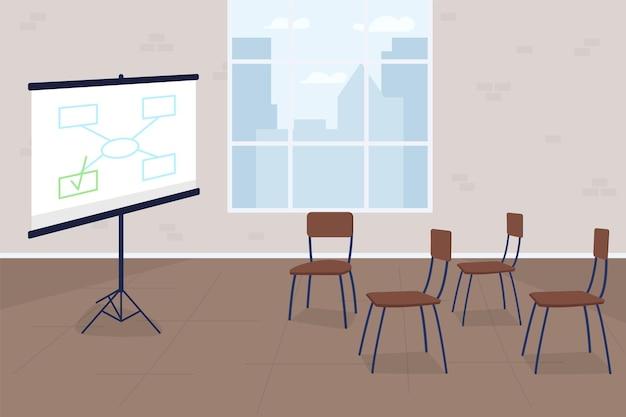 Formazione aziendale piatta. schermata di progetto con diagramma.