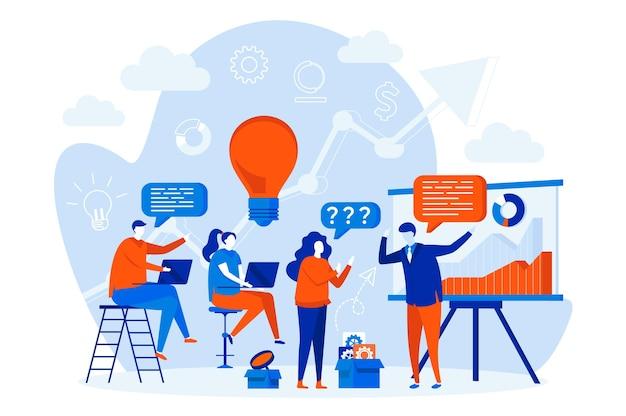 Concetto di web design di formazione aziendale con personaggi di persone