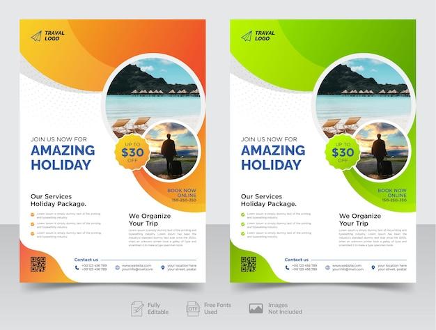 Volantino per viaggi d'affari e modello di copertina di poster o brochure per agenzia di viaggi vettore premium